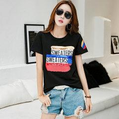 (代发)短袖t恤女新款夏季韩版印花T恤HBF1010 香芋色:M 无