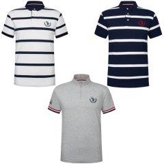 超级会员日-U.S.POLO  ASSN 男款T恤超值组(蓝白条、白蓝条、灰色立领) 无 XXL
