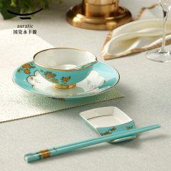 (代发)夫人瓷西湖蓝小时光6头中式餐具(碗*1、骨碟*1、调羹*1、味碟*1、2头陶瓷筷子)