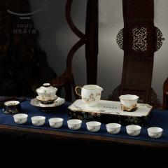 (代发)夫人瓷石榴家园18头陶瓷潮式茶具套装