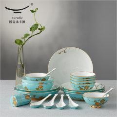 (代发)夫人瓷西湖蓝22头中式餐具