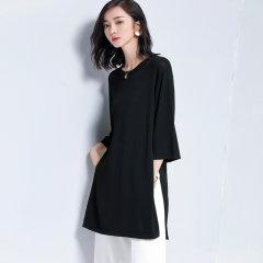 (代发)宽松套头中长薄款开叉七分袖罩衫T恤HB8304 黑色:S 无
