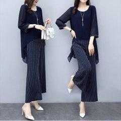 (代发)洋气阔腿裤宽松显瘦雪纺上衣两件套HBF2250 无 XL