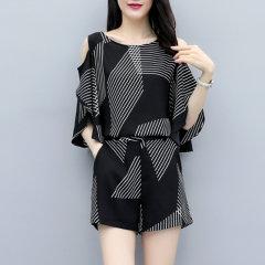 (代发)新款条纹上衣时尚两件套装女HBF2247 无 XL