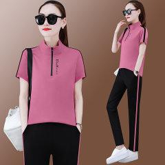 (代发)韩版新款时尚立领短袖长裤两件套HBF2265 无 红色:XL