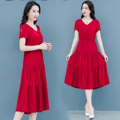 (代发)新款收腰显瘦气质v领小香风裙子HBF2261 无 红色:XL