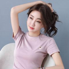 (代发)夏季女装刺绣高弹修身短袖t恤HBF2295 无 白色:L