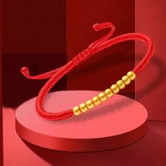 (代发)金贝珠宝-黄金十全十美999足金3D红绳金珠手链
