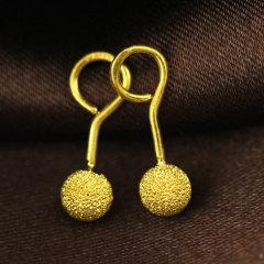 (代发)金贝珠宝-足金圆球珠形磨砂女士款耳钉耳饰