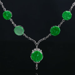 超级会员日-胜福绝代风华满绿翡翠套链