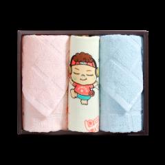 (代发)洁丽雅萌优3(优品面巾*2、么么哒童巾*1) 无 蓝色+粉色+红色