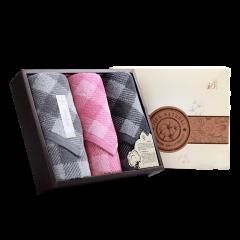 (代发)洁丽雅格调生活3(格方巾*1、面巾*2) 无 粉色