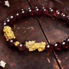 (代发)金贝珠宝-足金石榴石貔貅手链女士3D硬转运珠