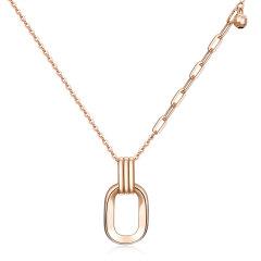 (代发)金贝珠宝-18K金玫瑰色时尚画框炫彩光珠项链套链