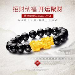 (代发)金贝珠宝-足金黄金3D硬金小财神貔貅黑玛瑙手串