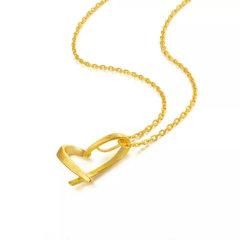 (代发)金贝珠宝-足金黄金心形项链3D硬足金丝带爱心吊坠