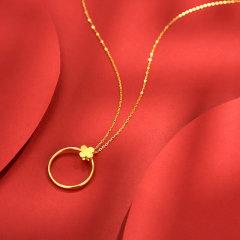 (代发)金贝珠宝-5G黄金足金四叶草圆框项链戒指一款双戴