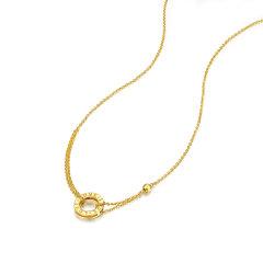 (代发)金贝珠宝-5G黄金项链足金LOVE圆饼光珠套链