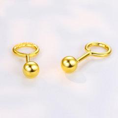 (代发)金贝珠宝-黄金耳钉足金圆球形光珠女款耳钉