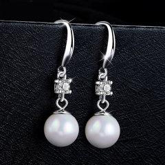 (代发)金贝珠宝-长款珍珠s925纯银耳钉优雅气质通勤