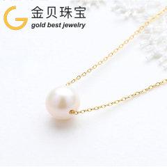 (代发)金贝珠宝-18K黄金小灯泡天然淡水珍珠锁骨项链