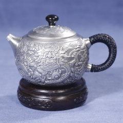中国白银《龙腾四海》银壶(银壶*1、赠茶杯*4、公道杯*1)