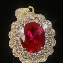超级会员日-K金豪镶戴妃款红宝石吊坠(赠珍珠项链*1)