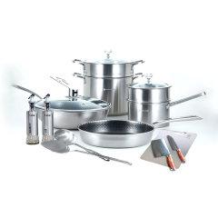 戴姆勒5D镭射钻石锅具套组(赠铲勺两件套、菜板*1、刀具两件套(颜色随机)、单手开合油壶*2)