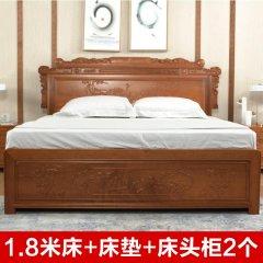 艾柏雅居翠羽锦屏卧房套组1.8M(赠床头柜*2、床垫*1、乳胶枕*2、涤棉四件套*1【花色随机】)