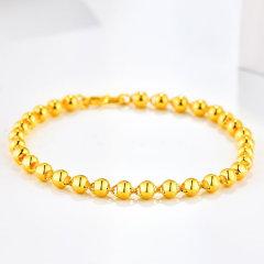 (代发)金贝珠宝-黄金光珠手链