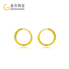 (代发)金贝珠宝-黄金圆圈光面耳环