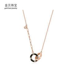 (代发)金贝珠宝-18K金烤漆双环LOVE项链