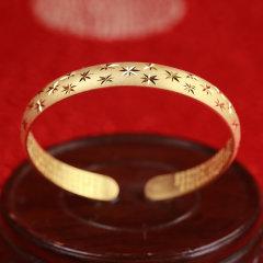 中国白银-满天星心经镀金银手镯【重量:约30克、圈口:活口】