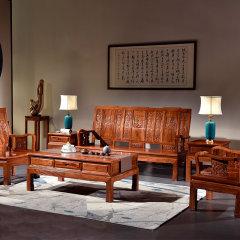 刺猬紫檀红木家具大全套(3人位沙发、单人位沙发、角几、太平几、小方凳、餐台、官帽餐椅、电视柜)