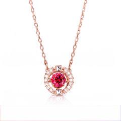 (代发)Swarovski施华洛世奇-透明水晶般质感镀玫瑰金色项链吊坠跳动的心