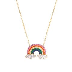 (代发)APM monaco-彩虹云朵吊坠首饰饰品925银项链
