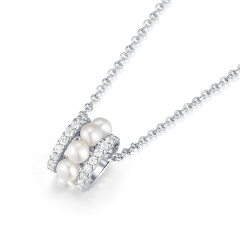(代发)APM monaco-双圈小蛮腰珍珠饰品925银项链