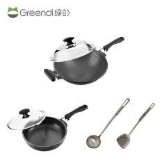 绿的铸造锅具组(36CM炒锅、28CM煎煮锅、不锈钢锅铲、不锈钢汤勺)