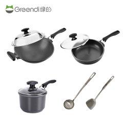 绿的铸造锅具36CM组合(36CM炒锅、28CM煎煮锅、18CM汤锅、不锈钢锅铲、不锈钢汤勺)