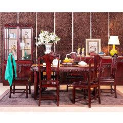 """上海""""允典""""刺猬紫檀海棠花餐厅七件套(长餐台、餐椅*6)"""