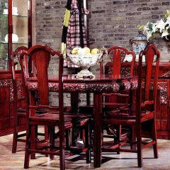 """上海""""允典""""刺猬紫檀海棠花系列餐桌椅组合(八角方桌、餐椅*4)"""