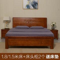艾居乐吉星高照卧房套组(床架*1、床头柜*2、赠床垫*1)【可选尺寸:1米5、1米8】