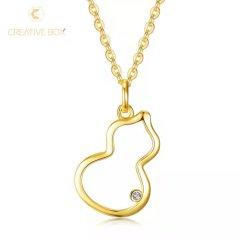 【抢购】创意盒子-S925银葫芦钻石套链