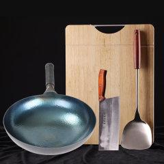 章砚铁铺手工锻打锅超值组(锻打锅*1、木锅盖*1、赠锻打铁刀*1、锅铲*1、橡胶木菜板*1)