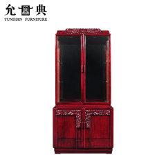上海允典刺猬紫檀海棠花双门酒柜【长95cm、宽45cm、高200cm】
