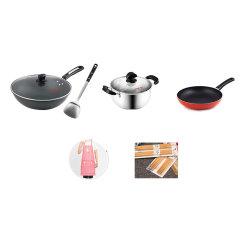 炊大皇不粘锅厨房5件套(炒锅+锅盖、煎锅、汤锅+锅盖、赠围裙、十双筷子、锅铲)