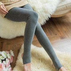 (代发)猫人螺纹打底裤女加绒加厚保暖连裤袜MR6019-1 无 黑色踩脚