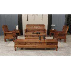 颐和仙境荷塘月色客厅套组(三人位沙发*1、单人位沙发*1、赠边几*2、茶几*1、电视柜*1)