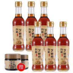 丰香园有机黑芝麻香油健康组(香油200ml/瓶*6、赠麻酱200g/瓶*6)