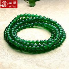 (店铺)左传 绿玉髓项链多圈项链毛衣链服饰项链 8mm 周长约1450mm